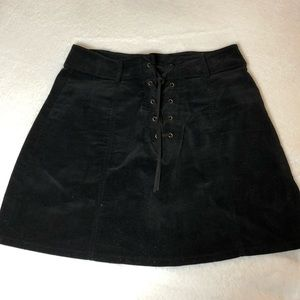 Black Suede Mini Lace-up Skirt